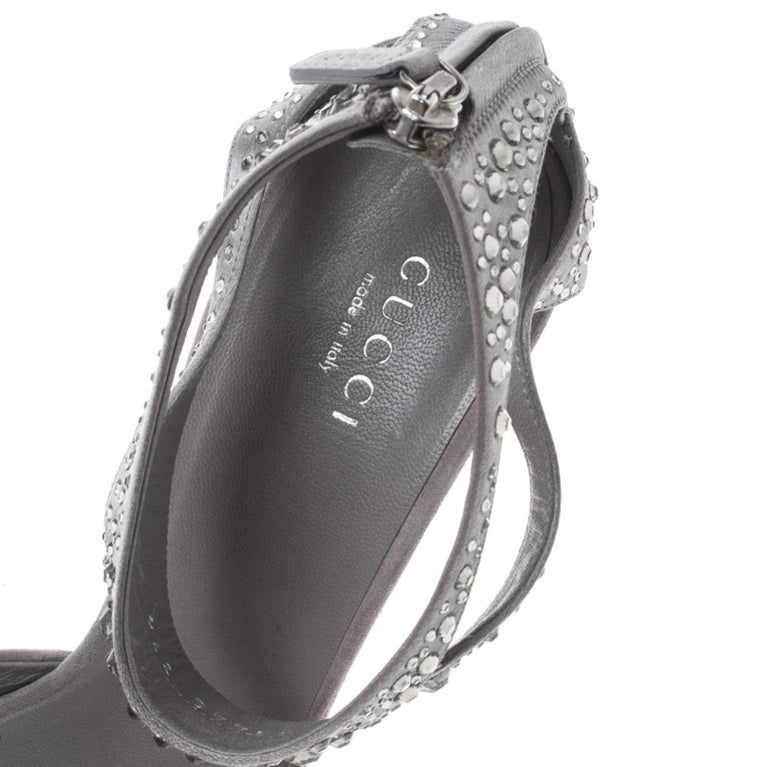 Gucci Grey Suede and Satin Crystal Embellished Ankle Strap Sandals Size 37.5 For Sale 5