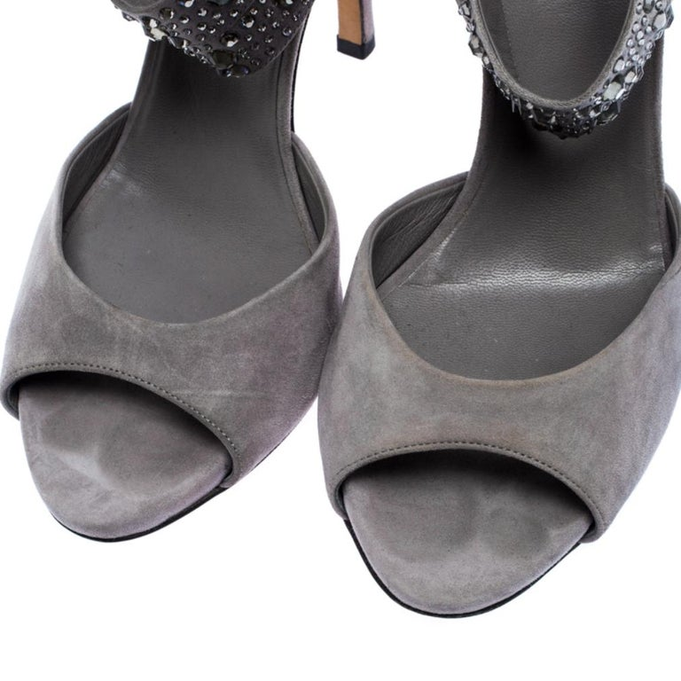 Gucci Grey Suede and Satin Crystal Embellished Ankle Strap Sandals Size 37.5 For Sale 6