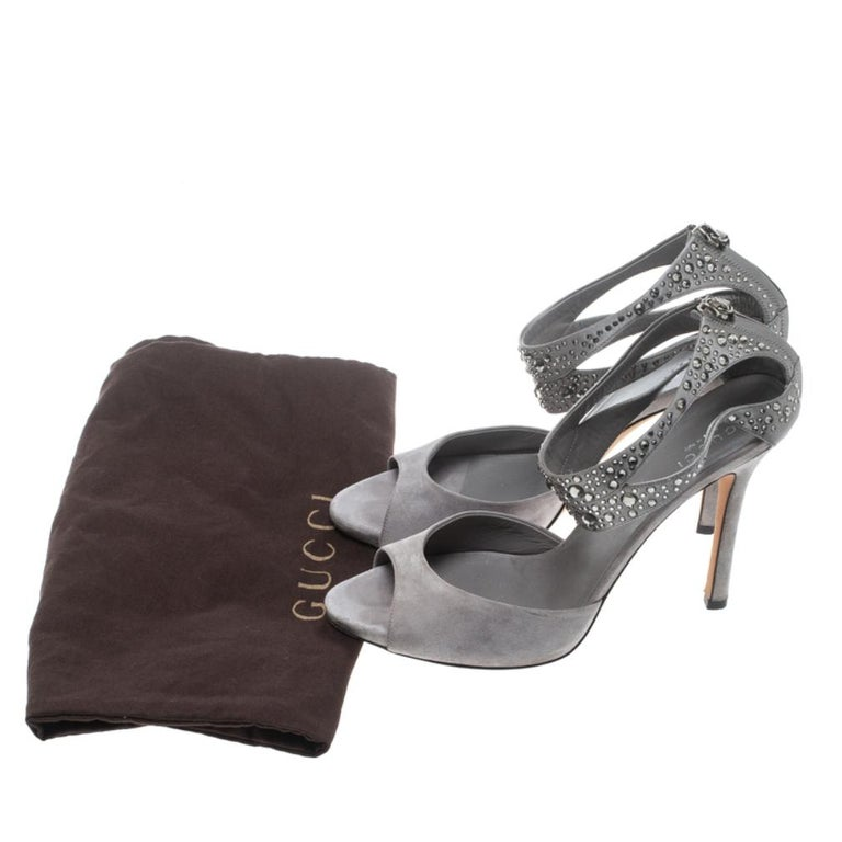 Gucci Grey Suede and Satin Crystal Embellished Ankle Strap Sandals Size 37.5 For Sale 7