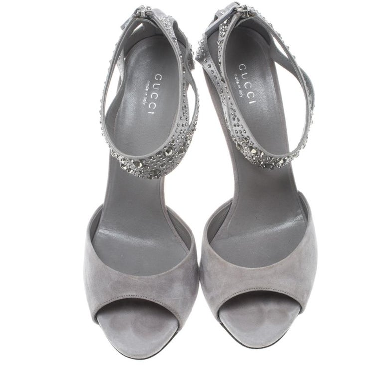 Gray Gucci Grey Suede and Satin Crystal Embellished Ankle Strap Sandals Size 37.5 For Sale