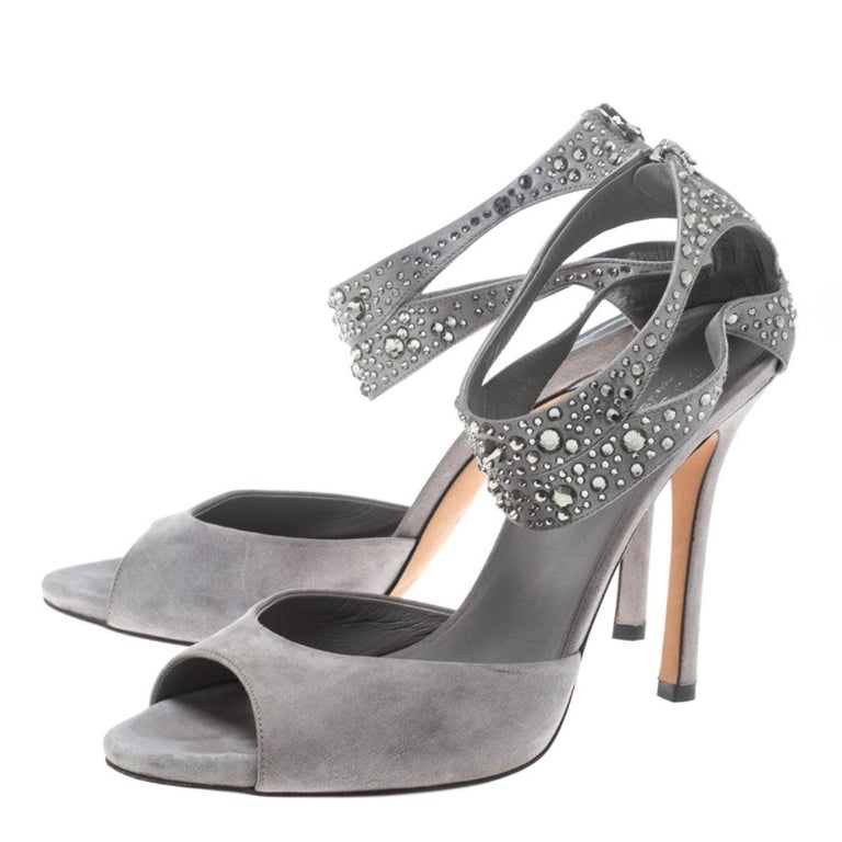 Women's or Men's Gucci Grey Suede and Satin Crystal Embellished Ankle Strap Sandals Size 37.5 For Sale