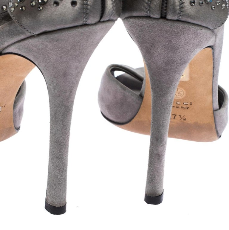 Gucci Grey Suede and Satin Crystal Embellished Ankle Strap Sandals Size 37.5 For Sale 2