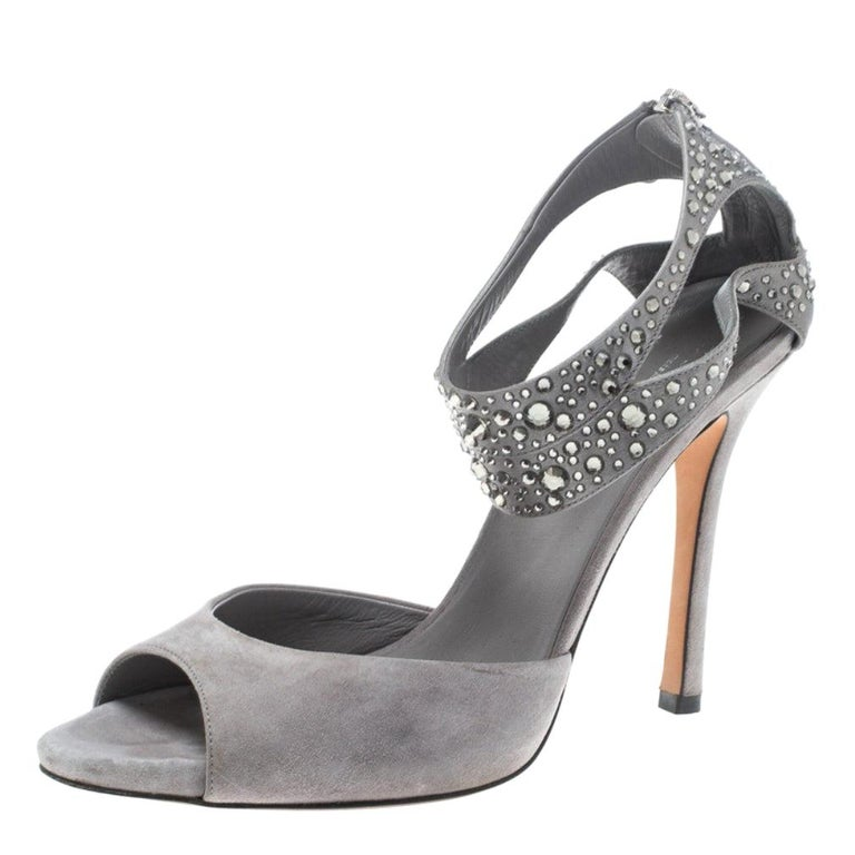 Gucci Grey Suede and Satin Crystal Embellished Ankle Strap Sandals Size 37.5 For Sale