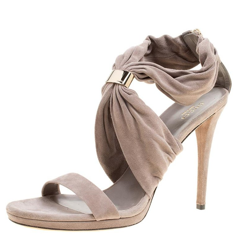 3f91c75575ed Gucci Grey Suede Carrie Open Toe Platform Sandals Size 40.5 For Sale ...