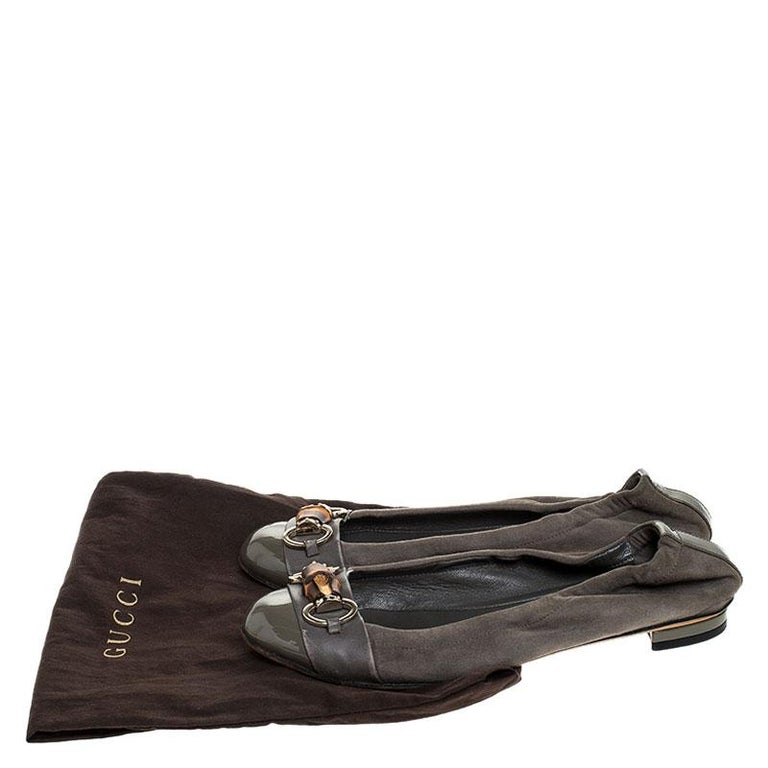 Gucci Grey Suede, Patent And Leather Bamboo Horsebit Ballet Flats Size 36.5 For Sale 3