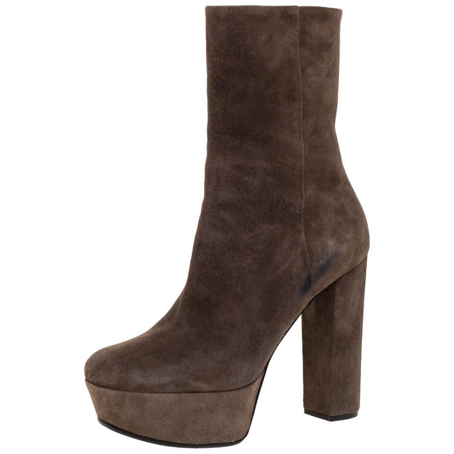 Gucci Grey Suede Platform Block Heel Ankle Boots Size 38