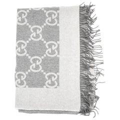 Gucci Grey Wool/Cashmere GG Monogram Throw Blanket W/ Fringe