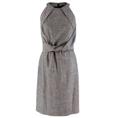 Gucci Grey Wool Midi Dress With Knotted Waist M 44