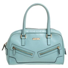 GUCCI Gucci Light Blue Micro Guccissima Leather Capri Bowler Bag
