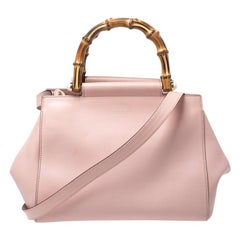 Gucci Gucci Light Pink Leather Nymphaea Bamboo Handle Tote