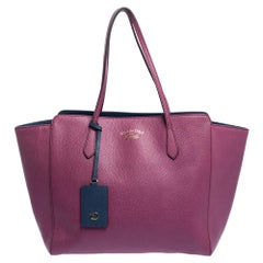GUCCI Gucci Old Rose Leather Large Swing Shopper Tote