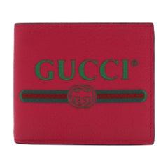 Gucci Gucci Print Leather Bi-fold Pink Unisex Wallet