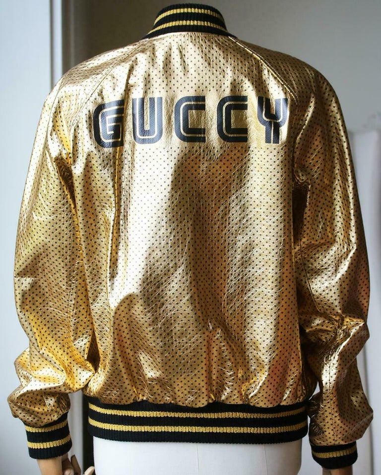 Women's or Men's Gucci Gucci Print Leather Bomber Jacket  For Sale