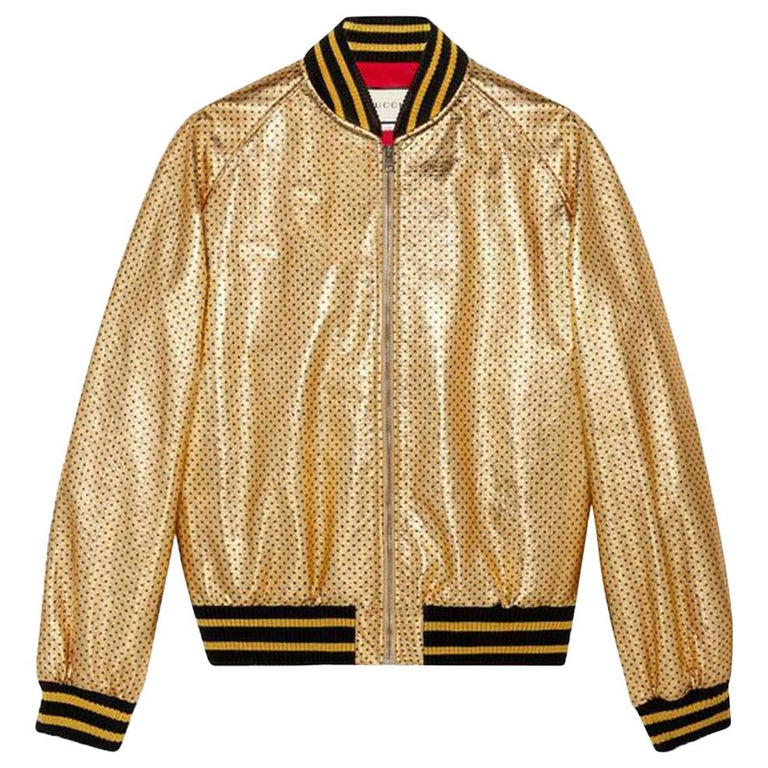 Gucci Gucci Print Leather Bomber Jacket  For Sale