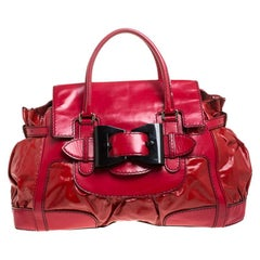 Gucci Red Coated Canvas and Patent Leather Large Dialux Queen Tote
