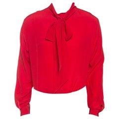 Gucci Gucci Red Silk Tie Neck Detail Shirt XXL