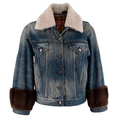 Gucci Guccification Denim Jacket with Mink Fur Trim & Shearling Collar - US 2