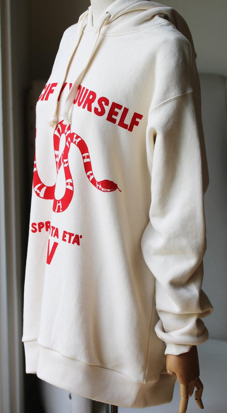 White Gucci Guccify Yourself Printed Cotton-Jersey Hooded Sweatshirt For Sale