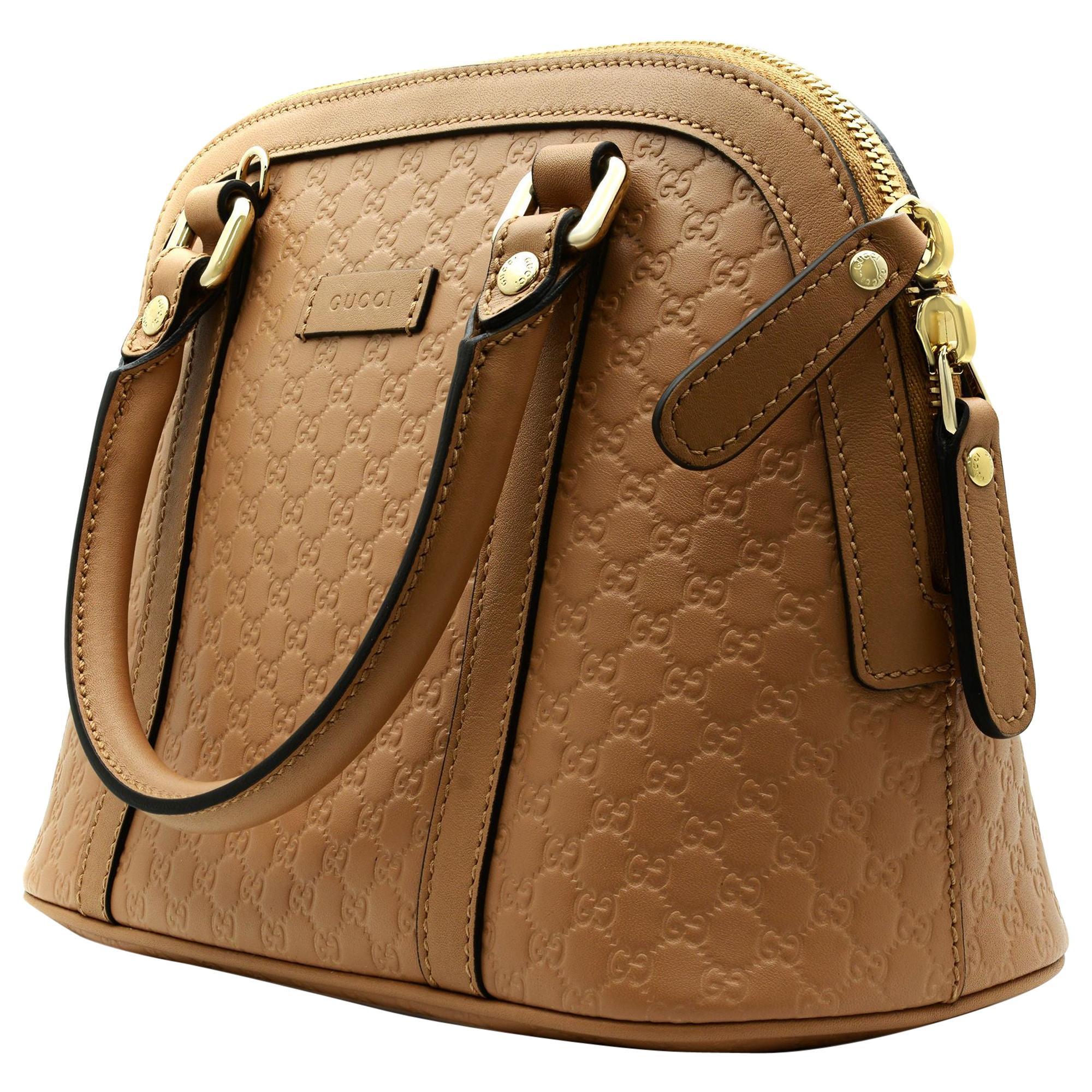 Gucci Guccissima Beige Leather Convertible Micro GG Small Dome Satchel Bag