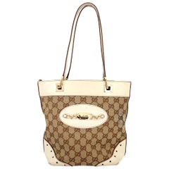 Gucci Guccissima GG Punch Beige Leather Canvas Monogram Tote Bag 1990s