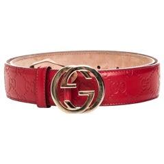 Gucci Guccissima Interlocking Red G Belt (Size 95/38)