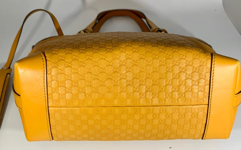 Gucci  Guccissima Leather Small Yellow/ Mustard Tote, With Pouch Like New For Sale 6