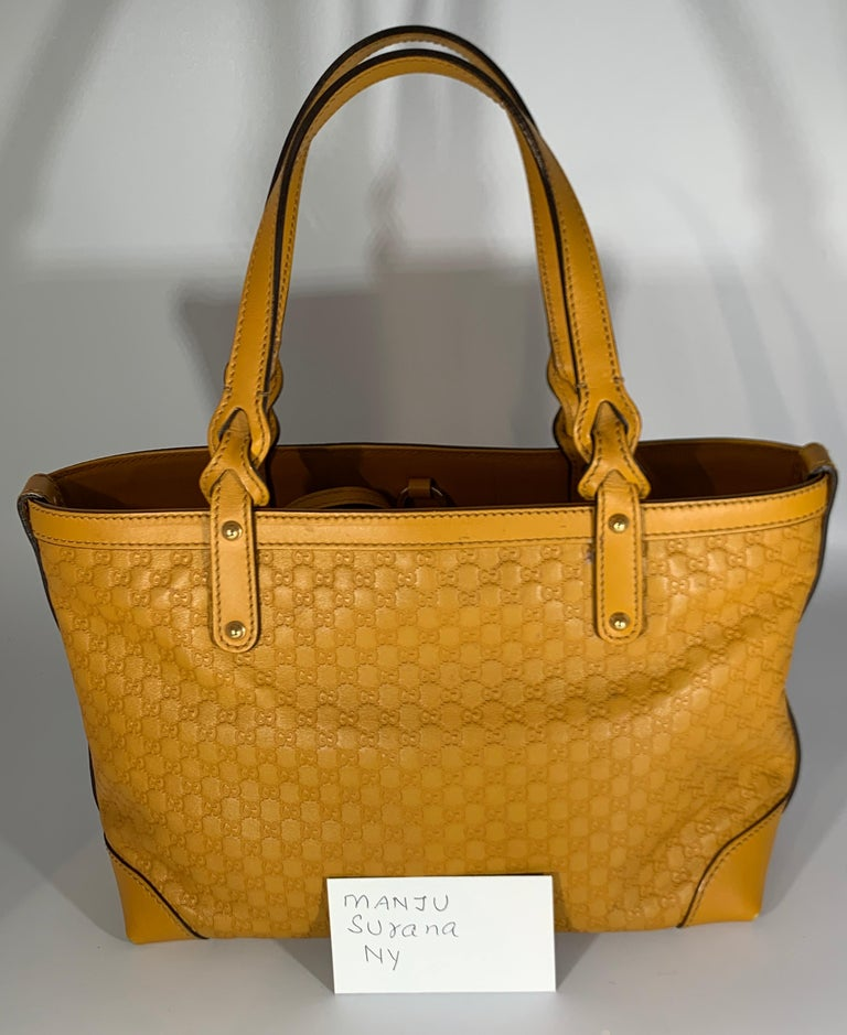 Gucci  Guccissima Leather Small Yellow/ Mustard Tote, With Pouch Like New For Sale 7