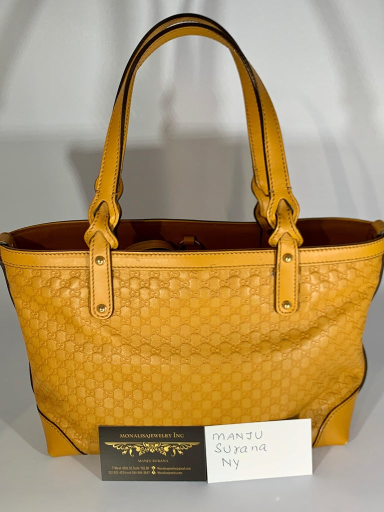 Women's Gucci  Guccissima Leather Small Yellow/ Mustard Tote, With Pouch Like New For Sale