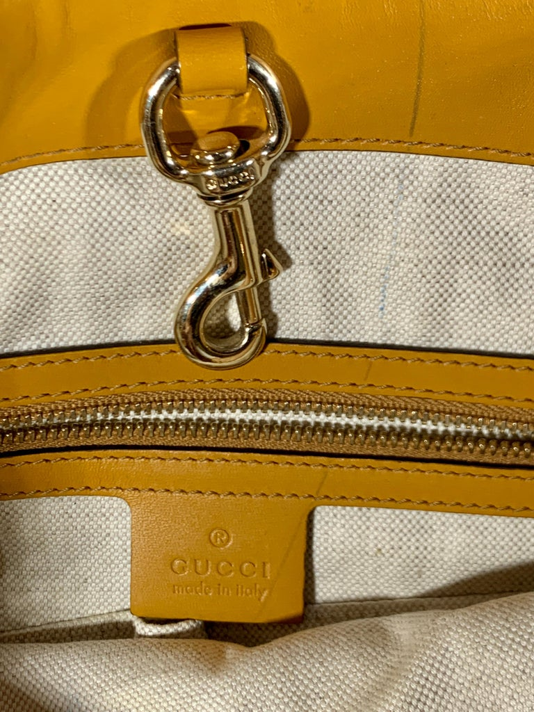 Gucci  Guccissima Leather Small Yellow/ Mustard Tote, With Pouch Like New For Sale 2
