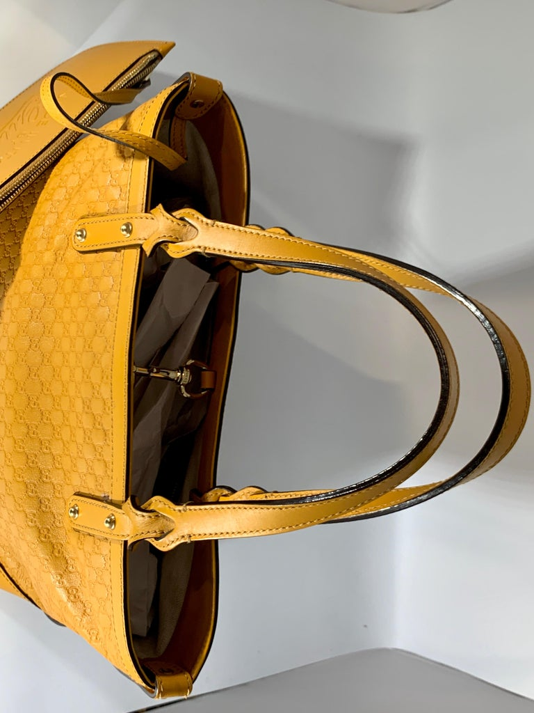Gucci  Guccissima Leather Small Yellow/ Mustard Tote, With Pouch Like New For Sale 5