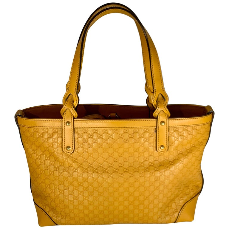 Gucci  Guccissima Leather Small Yellow/ Mustard Tote, With Pouch Like New For Sale