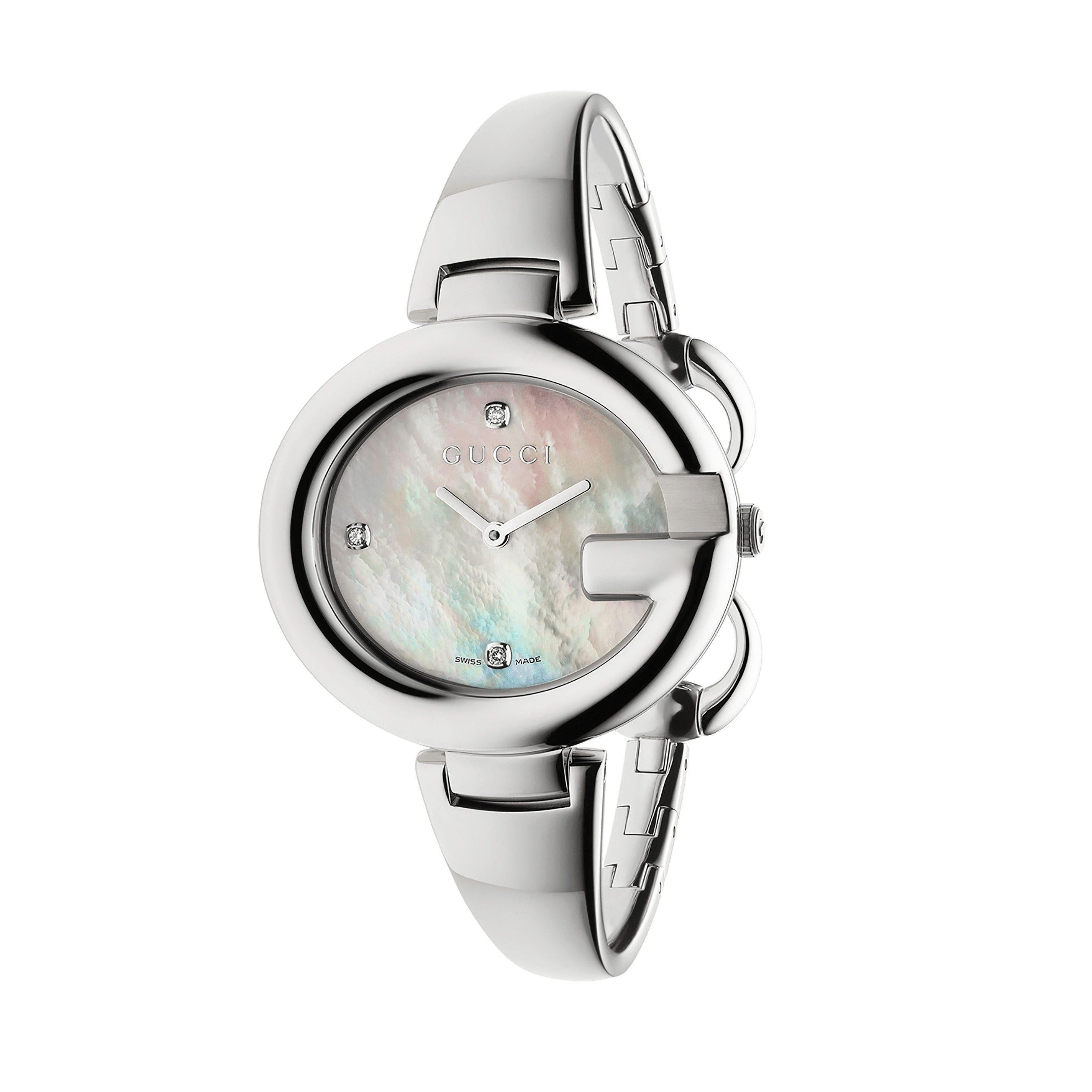 49222ba5447 1980s Gucci Sterling Silver Mother of Pearl Watch with Silver Gucci Charm  For Sale at 1stdibs