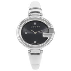 Gucci Guccissima Steel Black Dial Oval Quartz Ladies Bangle Watch YA134301