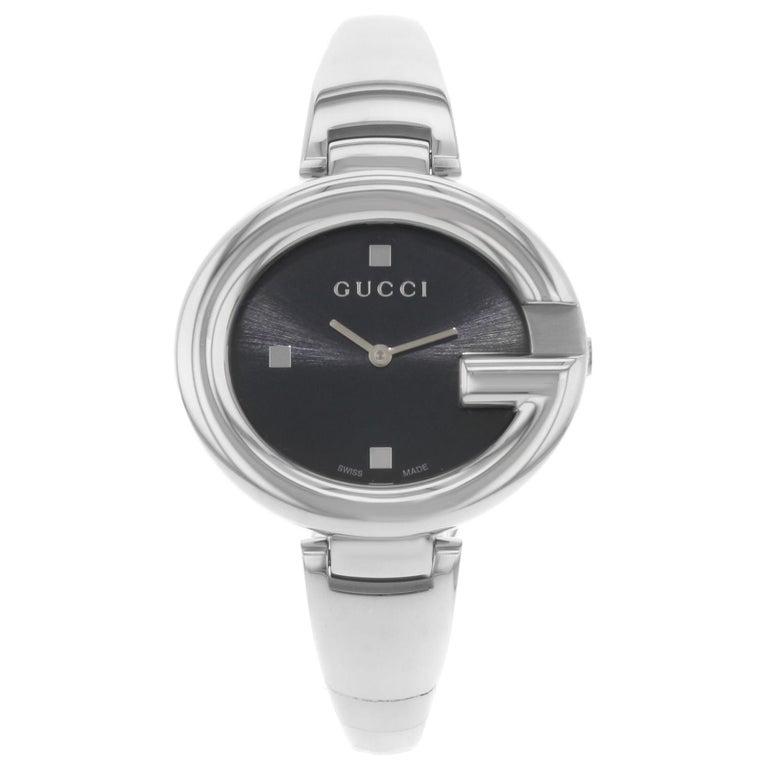 0efd7de762549 Gucci Guccissima Steel Black Dial Oval Quartz Ladies Bangle Watch YA134301