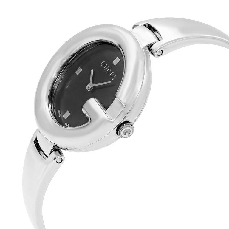 Women's Gucci Guccissima Steel Black Oval Dial Quartz Ladies Bangle Watch YA134301 For Sale