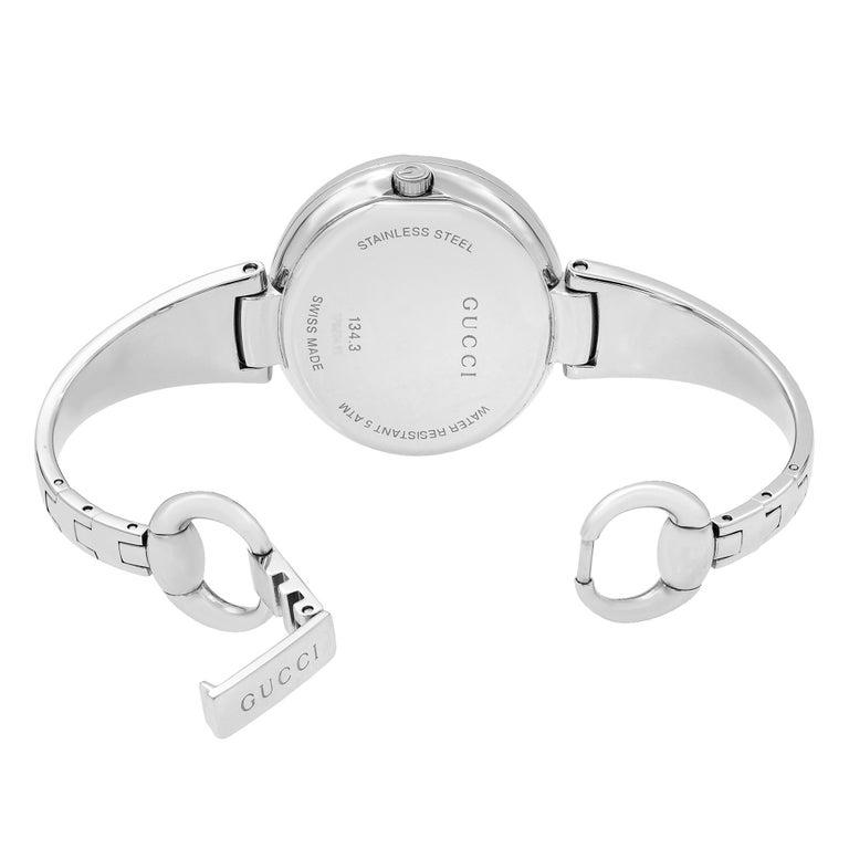 Gucci Guccissima Steel Black Oval Dial Quartz Ladies Bangle Watch YA134301 For Sale 1