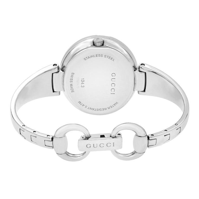 Gucci Guccissima Steel Black Oval Dial Quartz Ladies Bangle Watch YA134301 For Sale 2