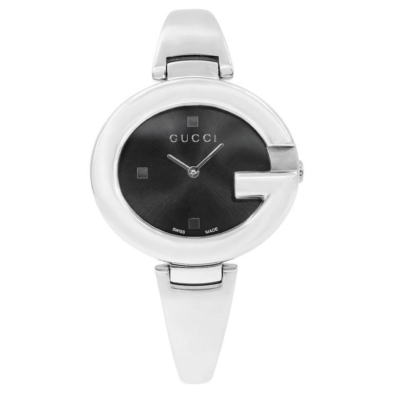 Gucci Guccissima Steel Black Oval Dial Quartz Ladies Bangle Watch YA134301 For Sale