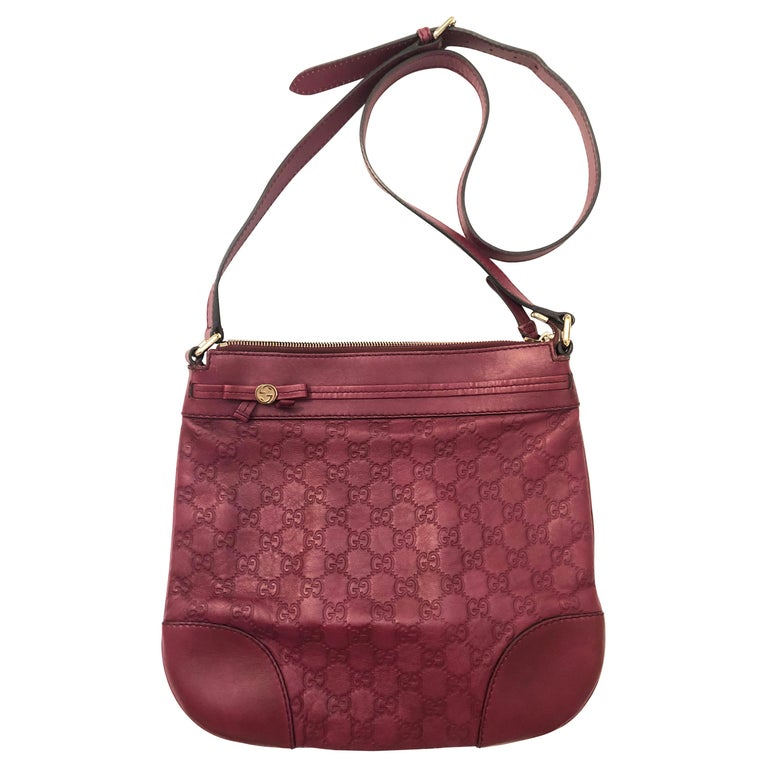 53215d500 Gucci Guccissima Vintage Monogram Red Leather Crossbody Bag For Sale ...