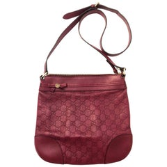 Gucci Guccissima Vintage Monogram Red Leather Crossbody Bag