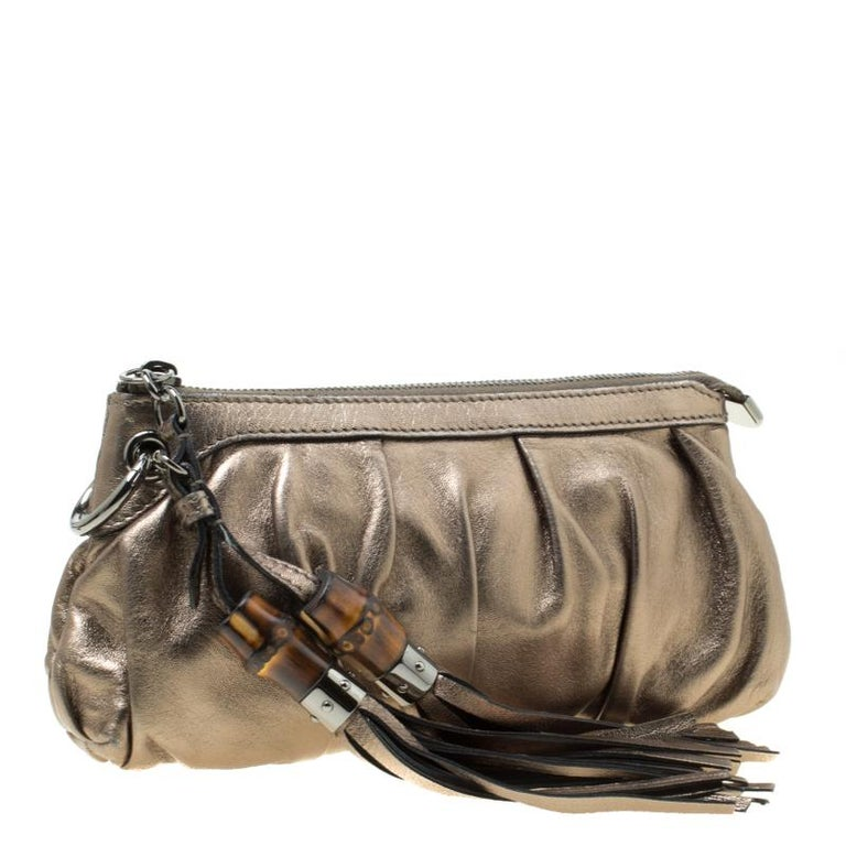 Gucci Gun Metal Leather Bamboo Tassels Clutch For Sale 5