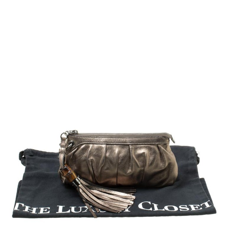 Gucci Gun Metal Leather Bamboo Tassels Clutch For Sale 7
