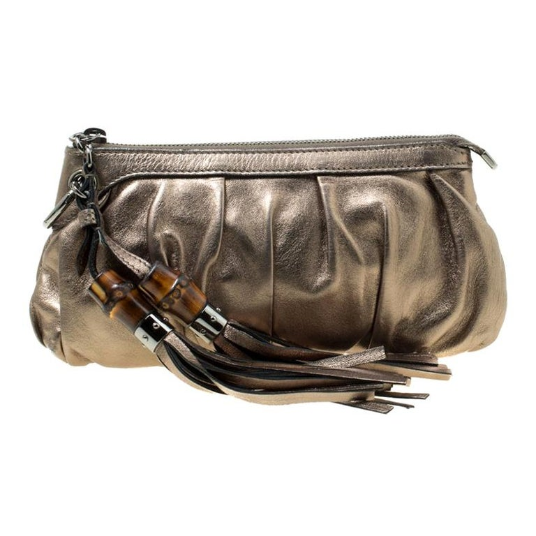 Gucci Gun Metal Leather Bamboo Tassels Clutch For Sale