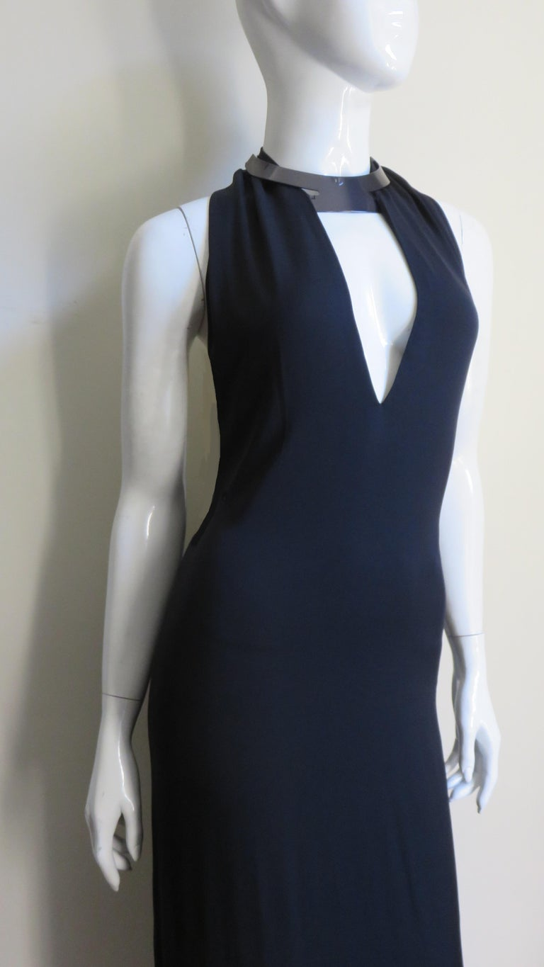 Gucci Backless Silk Halter Gown with Hardware Collar  For Sale 6
