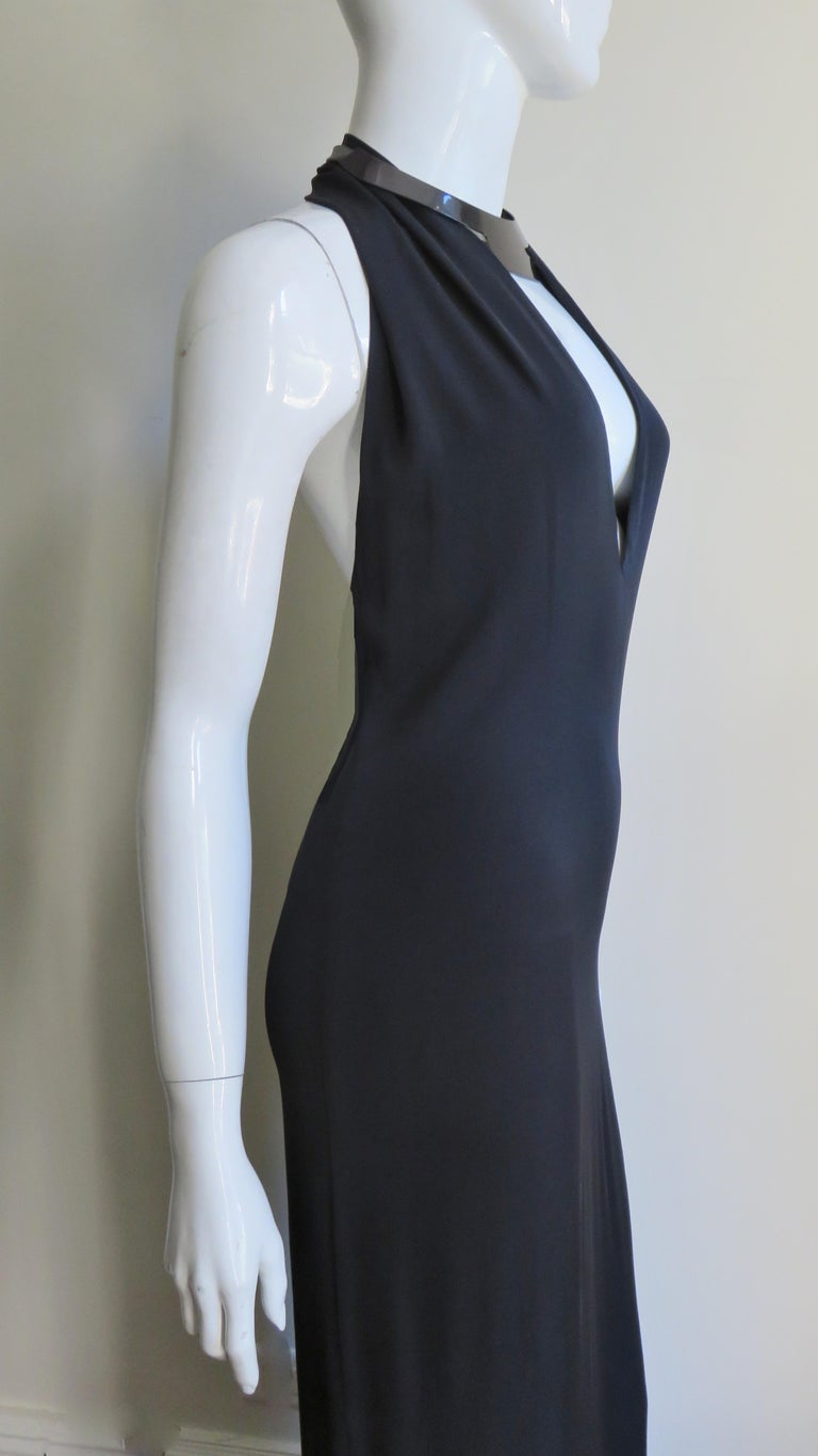 Gucci Backless Silk Halter Gown with Hardware Collar  For Sale 7