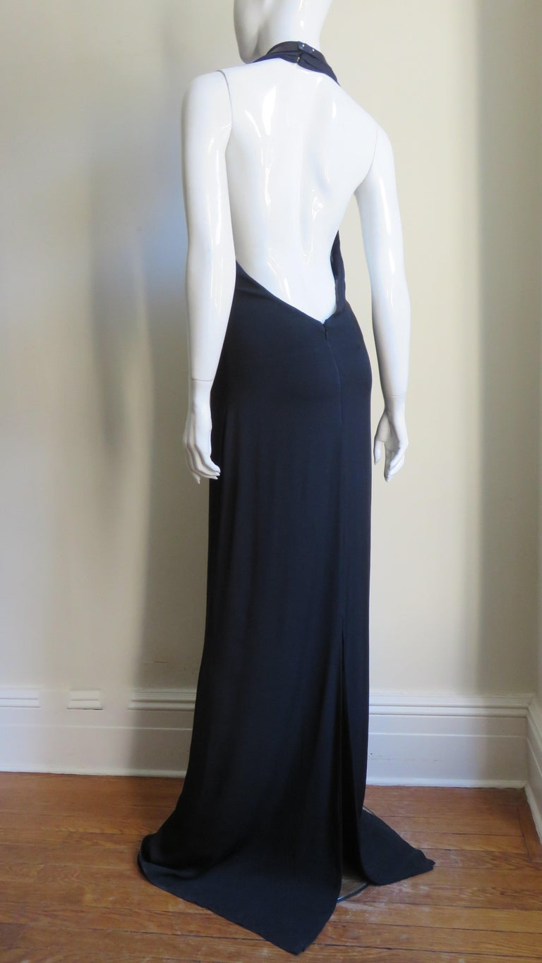 Gucci Backless Silk Halter Gown with Hardware Collar  For Sale 8