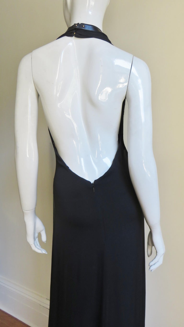 Gucci Backless Silk Halter Gown with Hardware Collar  For Sale 9