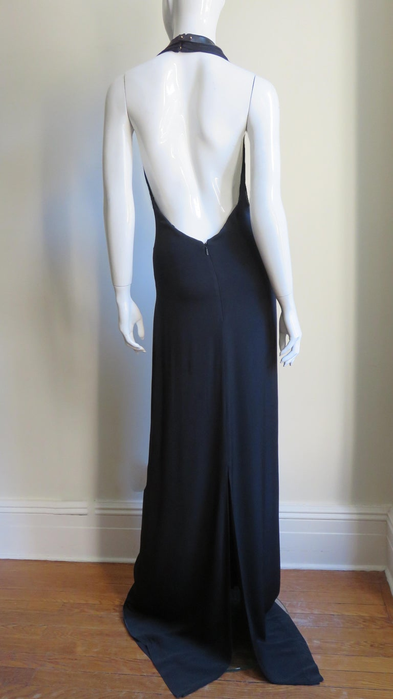 Gucci Backless Silk Halter Gown with Hardware Collar  For Sale 11