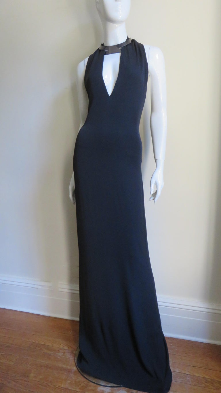 Black  Gucci Backless Silk Halter Gown with Hardware Collar  For Sale