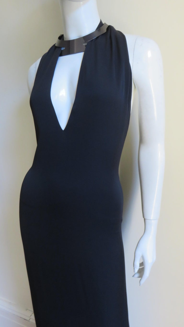 Gucci Backless Silk Halter Gown with Hardware Collar  In Good Condition For Sale In Water Mill, NY